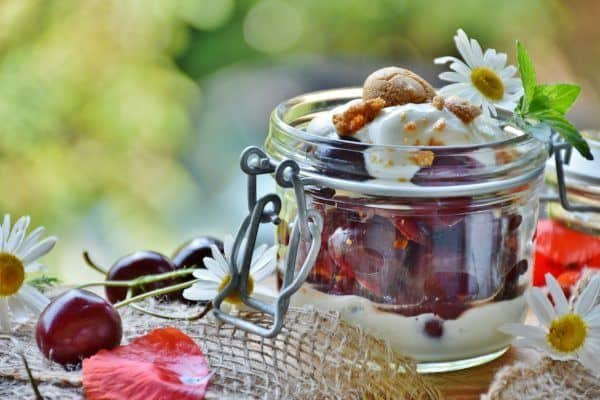 Fresh Cherries and Yogurt