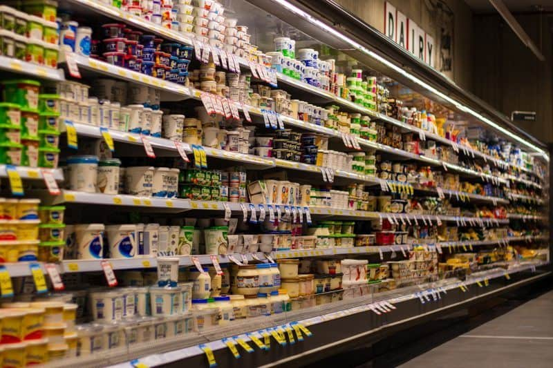 Yogurt Aisle in Supermarket